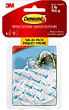 Command Medium Clear Hook Value Pack, 2 lb Capacity, 6 Hooks 12 Medium Strips, (17091CLRC-VP)