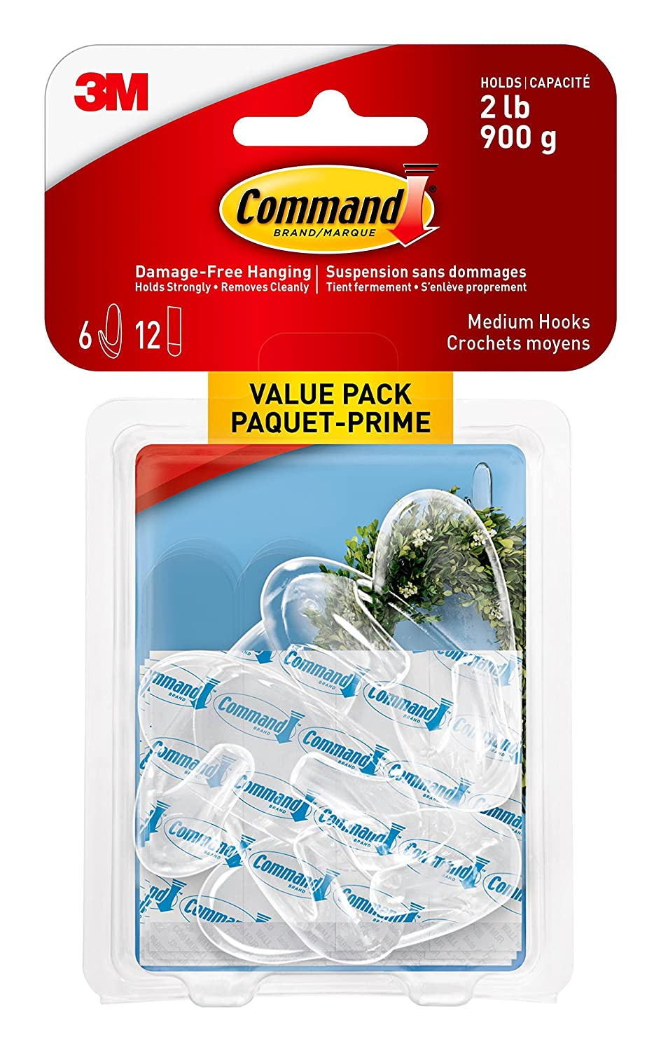 Command 17092CLR-C Small Hooks, Small, Clear, 2 Hooks 4 Small Strips 3M