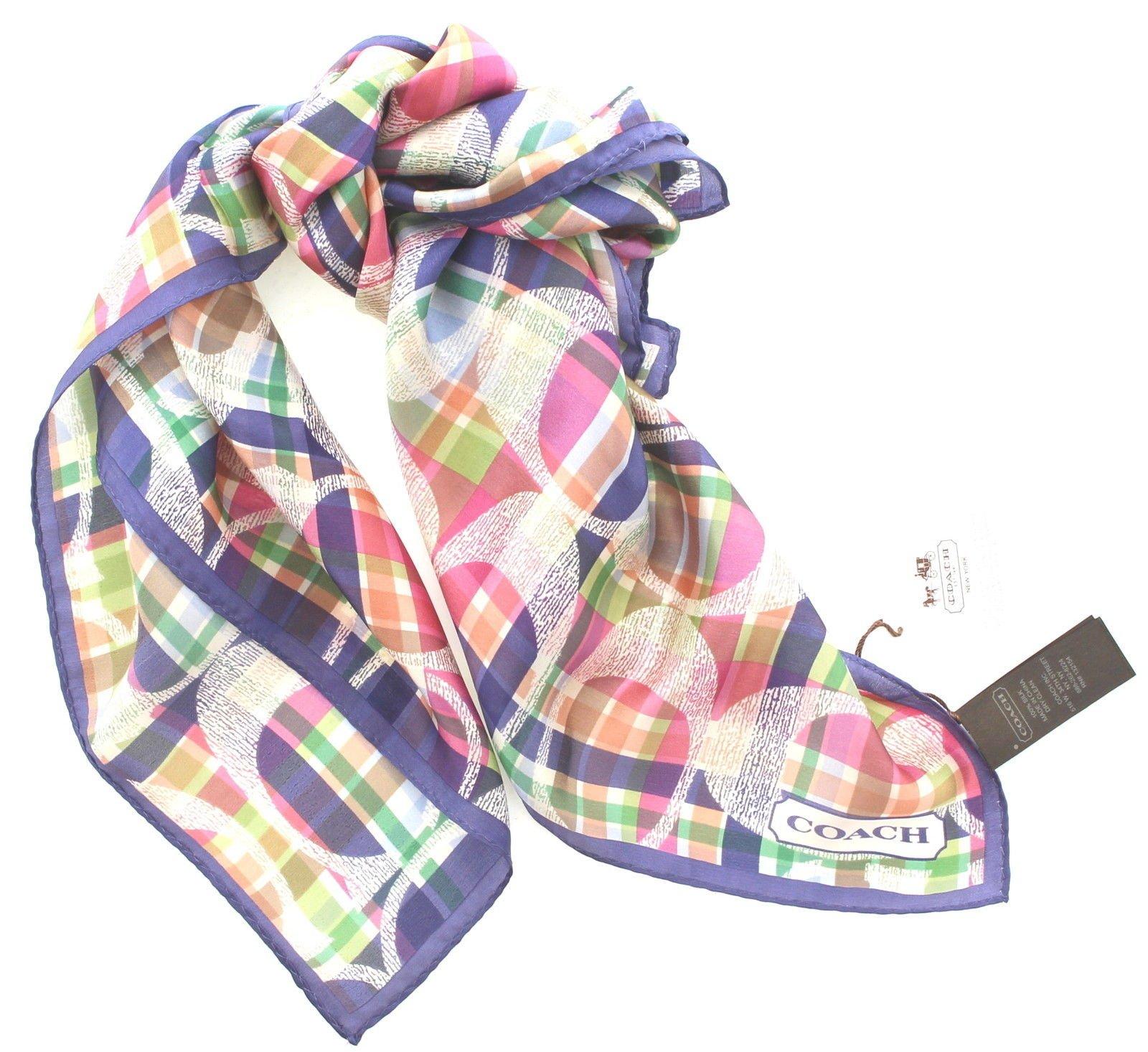 Coach Daisy Madras Silk Square Scarf, Style 83511 Multicolor