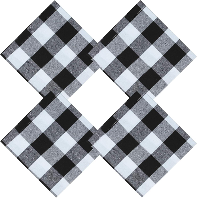 Aneco Paquete de 4 servilletas de algodón, Color Blanco y Negro ...