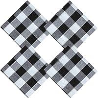 Aneco Paquete de 4 servilletas de algodón, Color Blanco y Negro, de Gran tamaño
