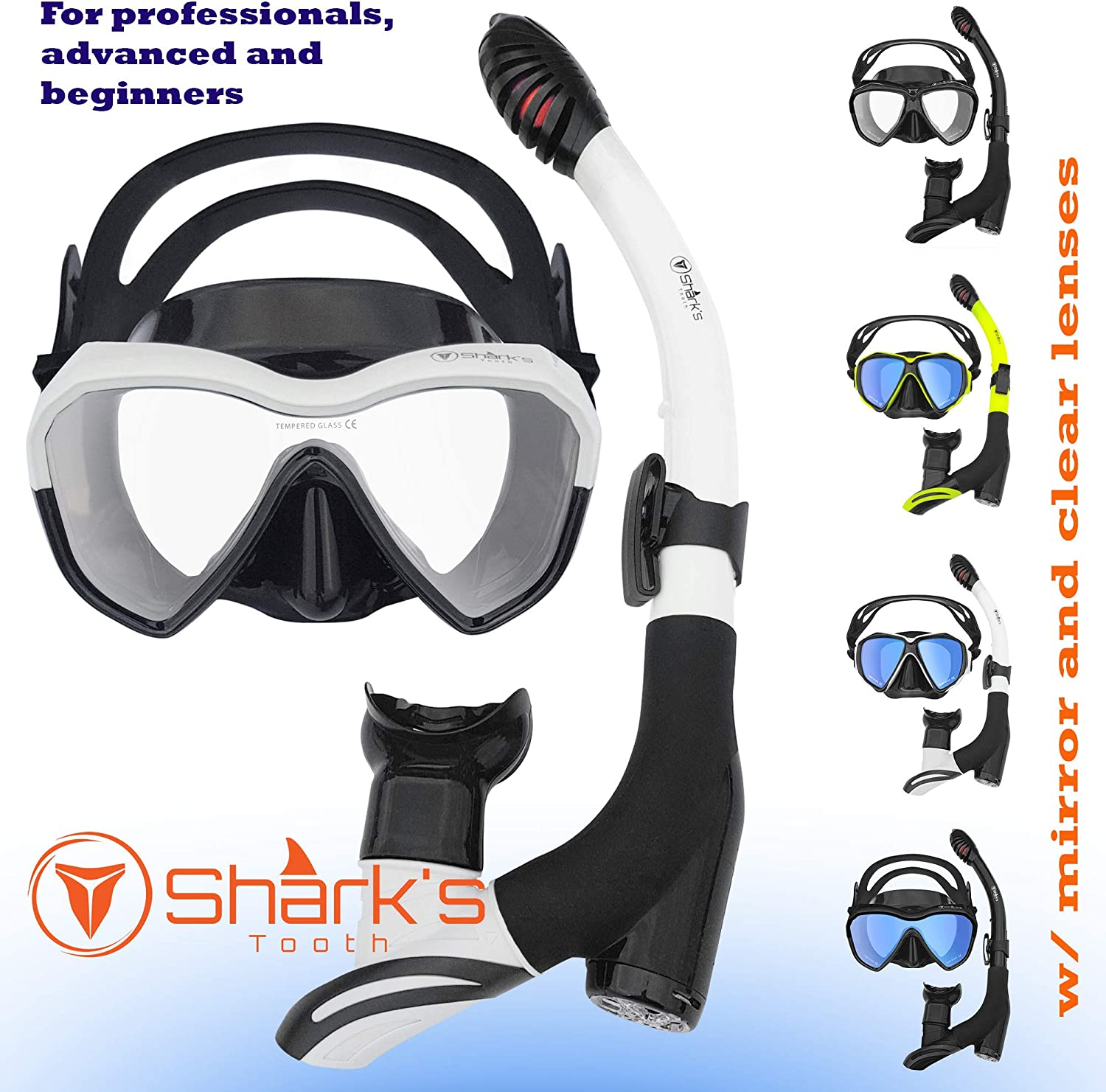 Shark's Tooth Dry Snorkel Set with Anti-Fogging Diving Skuba Mask and for Adult Youth and Kids, Surface Swimming and Snorkeling Mask, 180° Panoramic View Anti-Leak