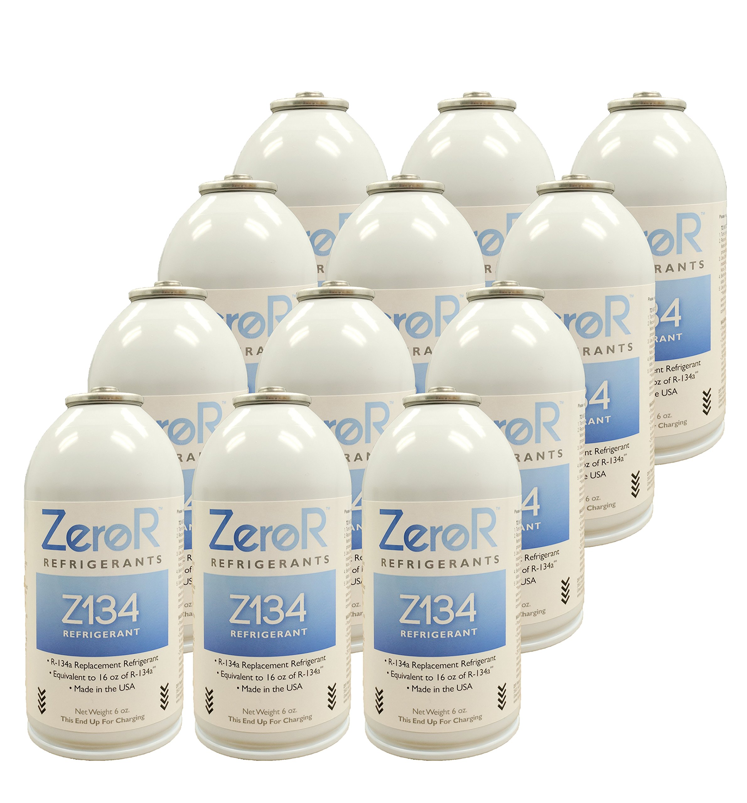 ZeroR Z134 Refrigerant - R134a Replacement - 12 Cans (1 Case) - Made in USA - Natural Non Ozone Depleting by ZeroR