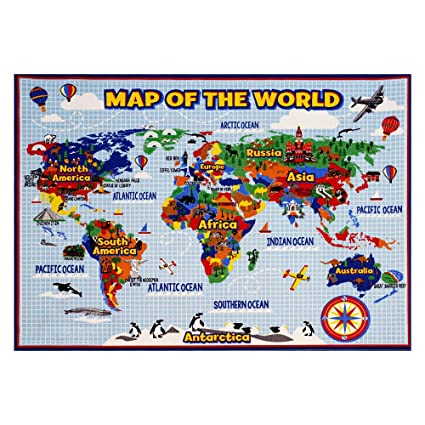World Map Rug Amazon.com: Smithsonian Rug World Map Learning Carpets Bedding