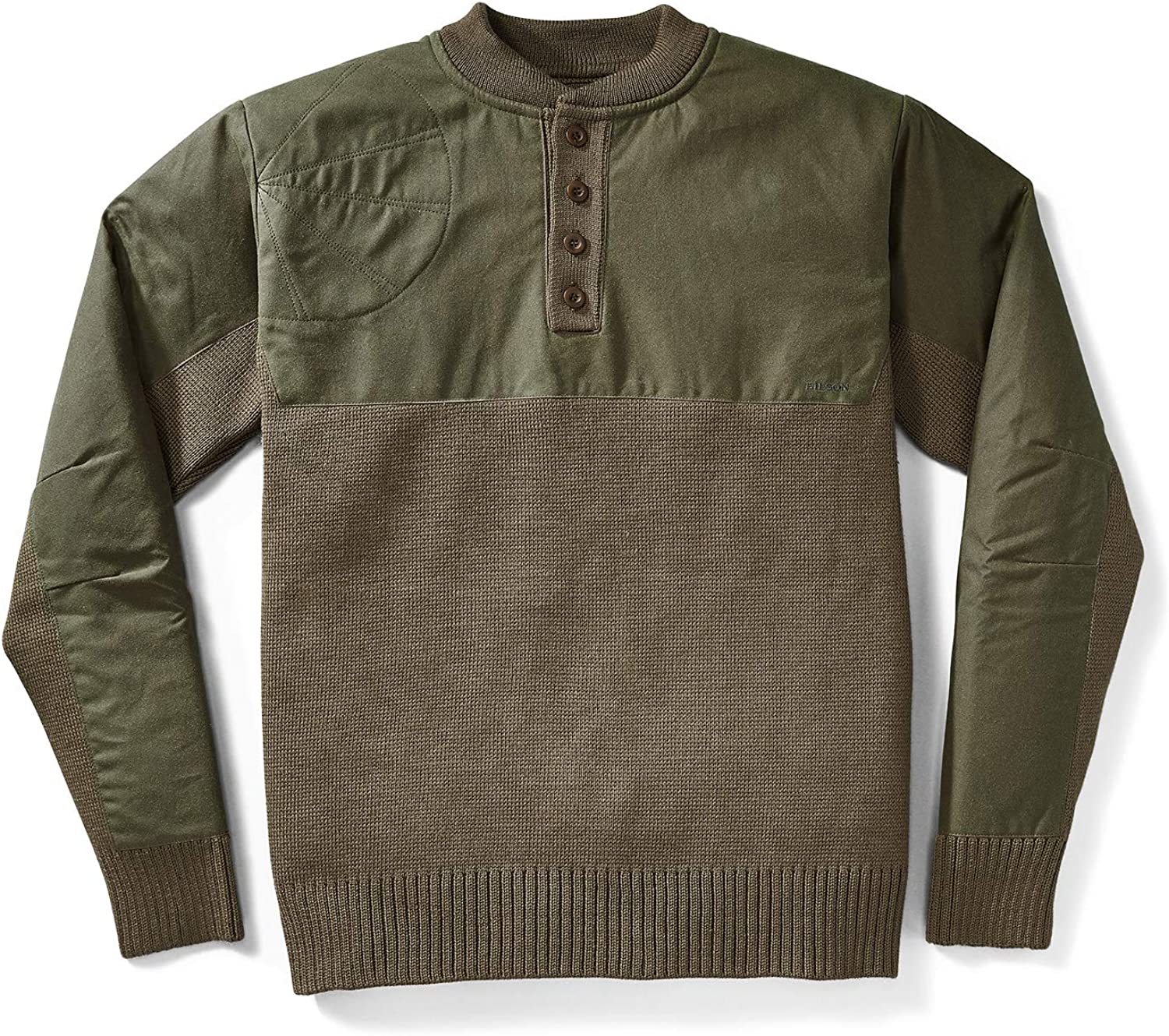 Filson Men's Henley Guide Sweater-Peat Green at  Men's Clothing store
