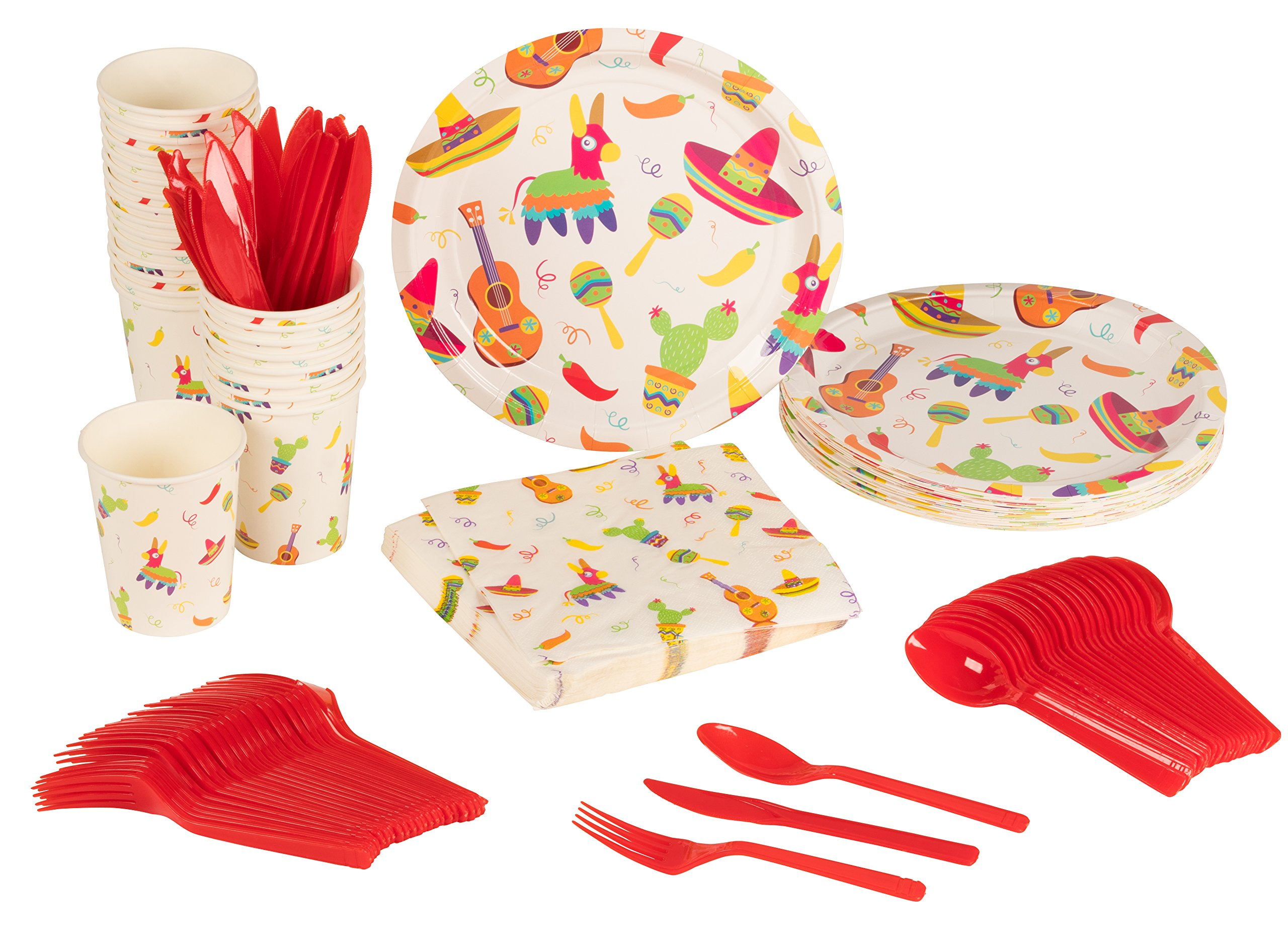 Disposable Dinnerware Set - Serves 24 - Mexican Fiesta Party Supplies for Birthdays, Cinco de Mayo - Includes Plastic Knives, Spoons, Forks, Paper Plates, Napkins, Cups by Blue Panda