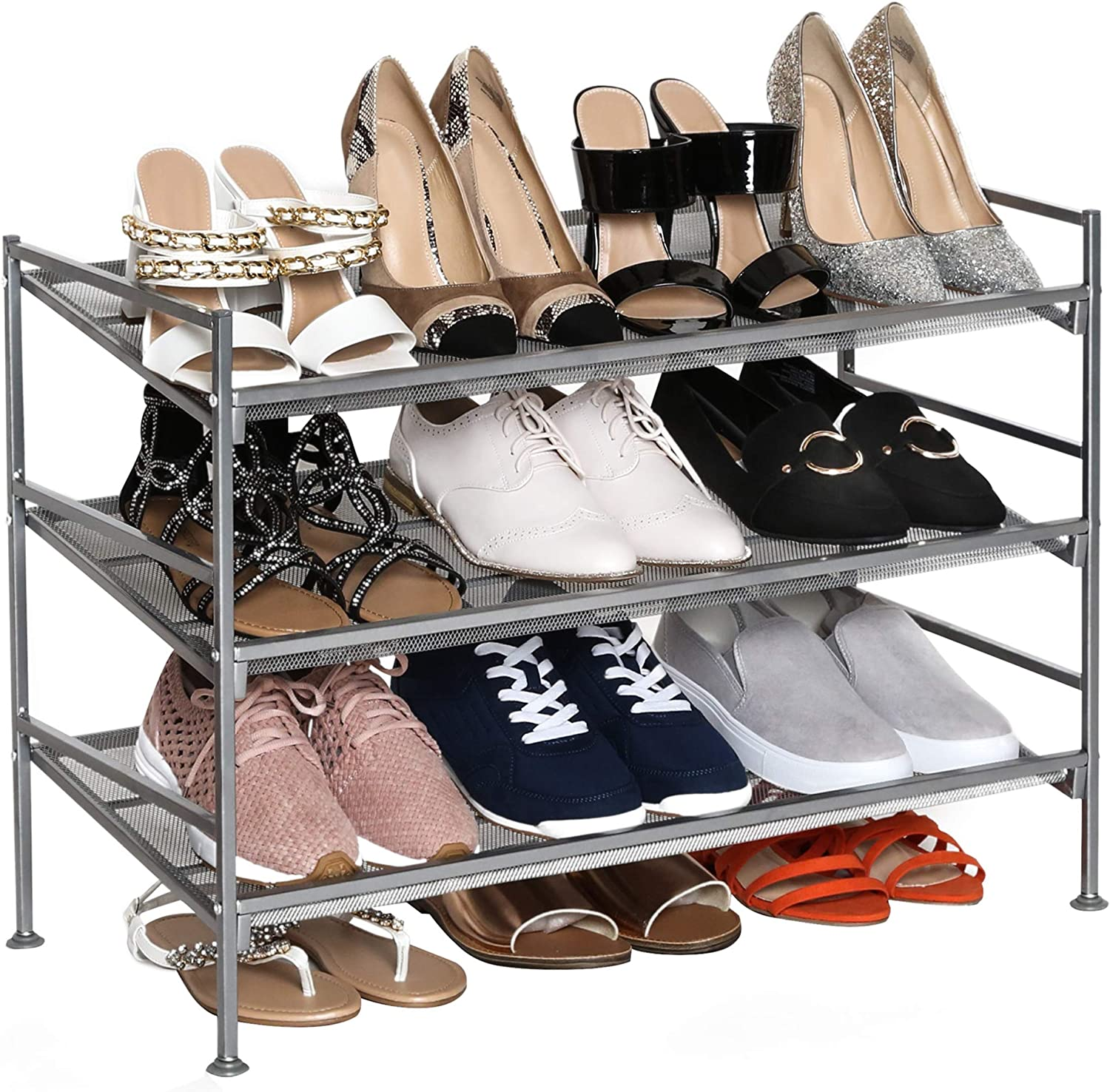 Seville Classics 3 Tier Stackable 12 Pair Multi Position Shoe Rack Adjustable Metal Freestanding Storage Shelf For Bedroom Closet Entryway Dorm Room Satin Pewter Mesh Home Kitchen