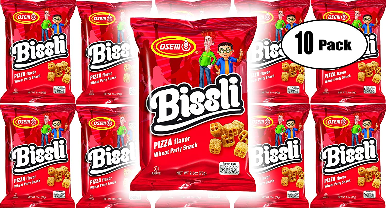 Osem Bissli Pizza Flavored Crunchy Wheat Snack -No Food Coloring or Preservatives, 2.5 Ounce Bags (Pack of 10)