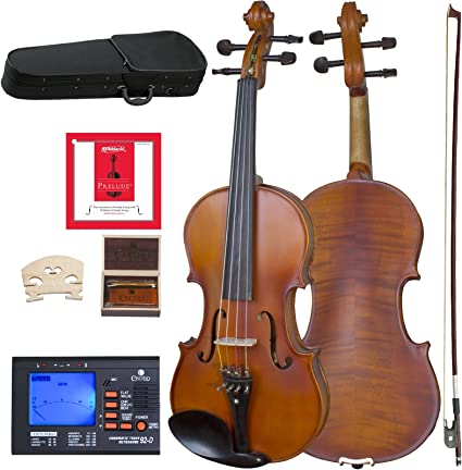 Size 4//4 Full Size Cecilio CVN-500 Solidwood Ebony Fitted Violin with DAddario Prelude Strings