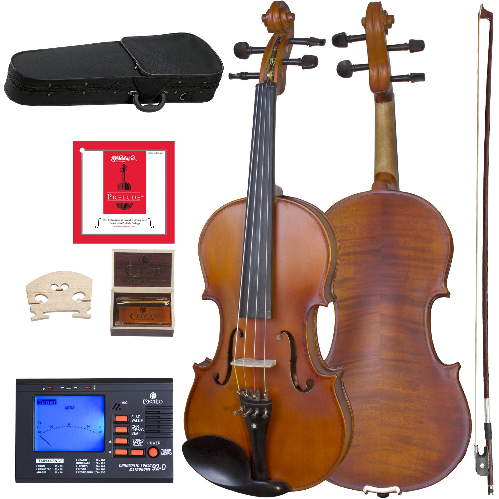 Cecilio CVA-500 Solidwood Ebony Fitted Viola with D'Addario Prelude Strings, Size 14-Inch by Cecilio