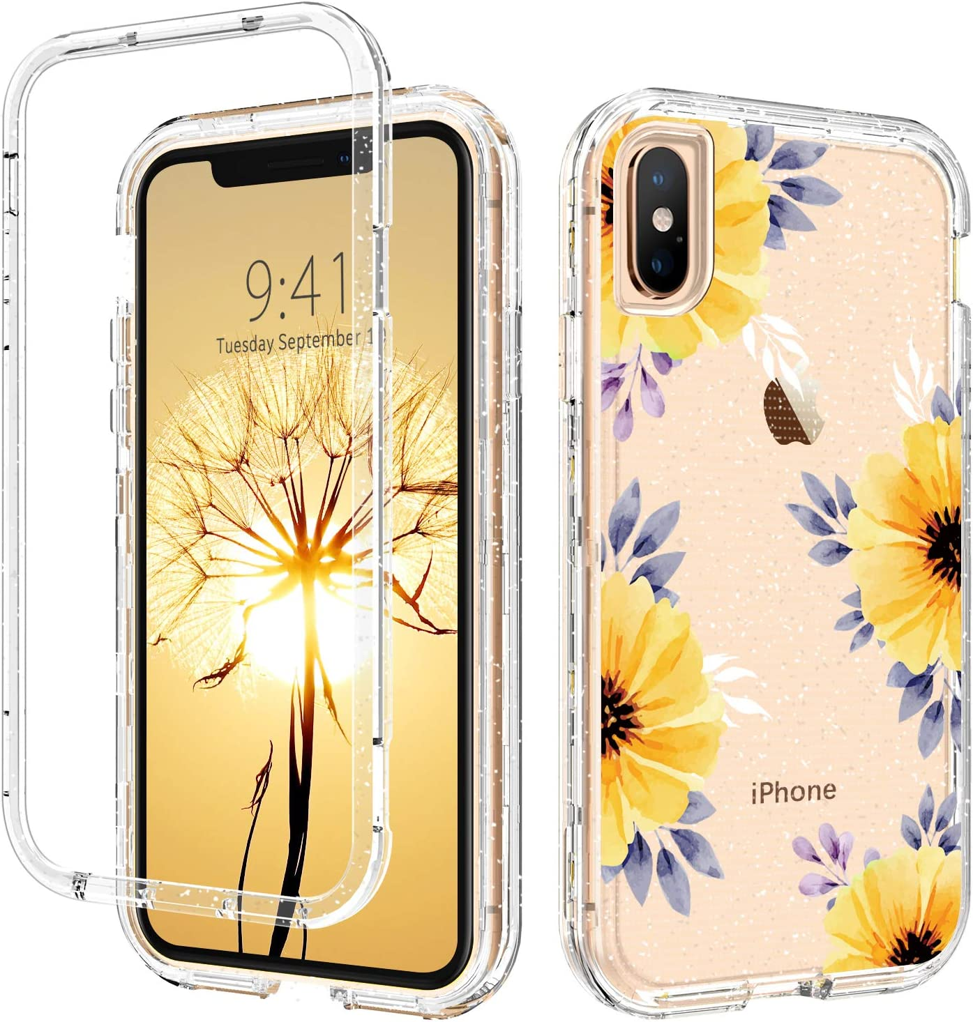 DUEDUE iPhone Xs Max Case, Glitter Camellia Flower 3 in 1 Shockproof Drop Protection Heavy Duty Hybrid Hard PC Transparent TPU Bumper Full Body Protective Case for iPhone Xs Max, Clear Flower