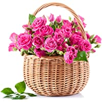 Golden Cart Fresh Flower PREMIUM FLOWER BASKET OF ROSES to Convey that 'special feeling' I Bouquet Basket (31 Fresh Roses, Pink)