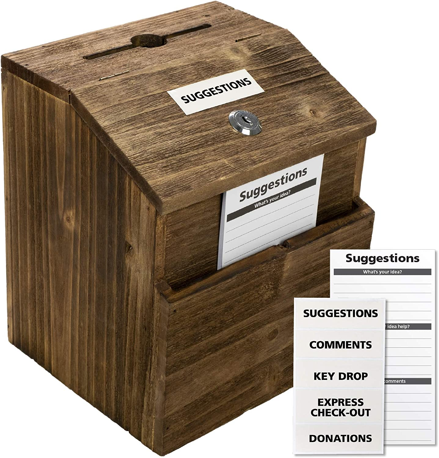 Rustic Suggestion Box with Lock: Wooden Ballot Comment Box, Wall Mounted or Freestanding. Includes Printed Labels & Suggestion Pads Cards