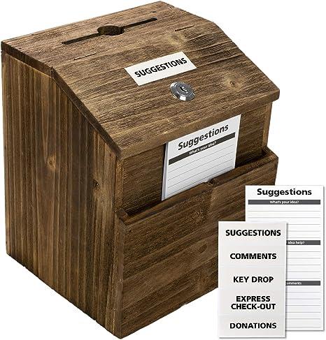 Amazon.com: Caja de sugerencias rústica con cerradura: caja ...