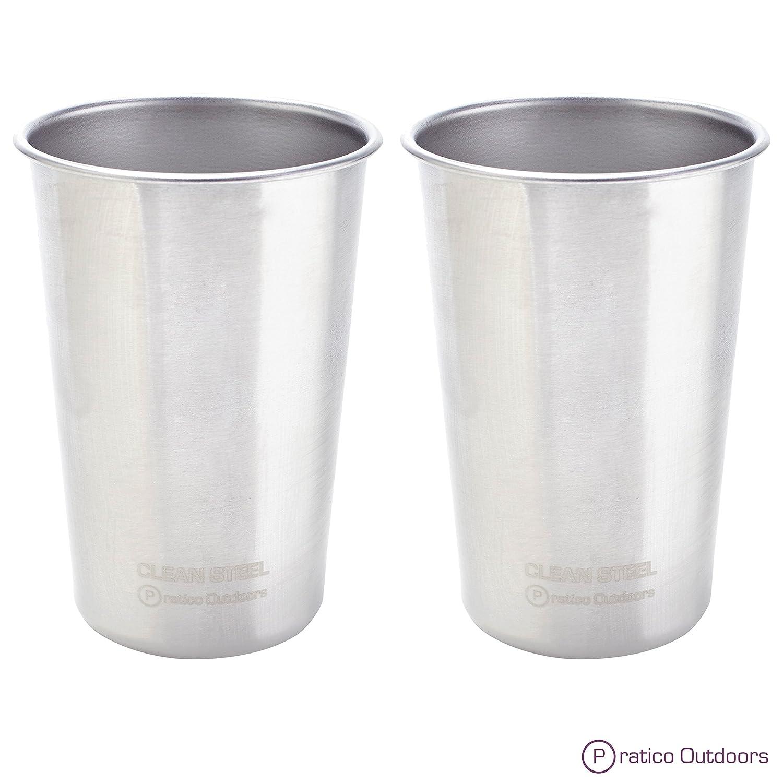 Clean Steelステンレススチールカップ(パック5または2 ) – 多目的16オンスPint Glasses madeからBPAフリープレミアム18 / 8 Electropolished SSメタル B00ZSEEX4M  Silver - 2 Pack