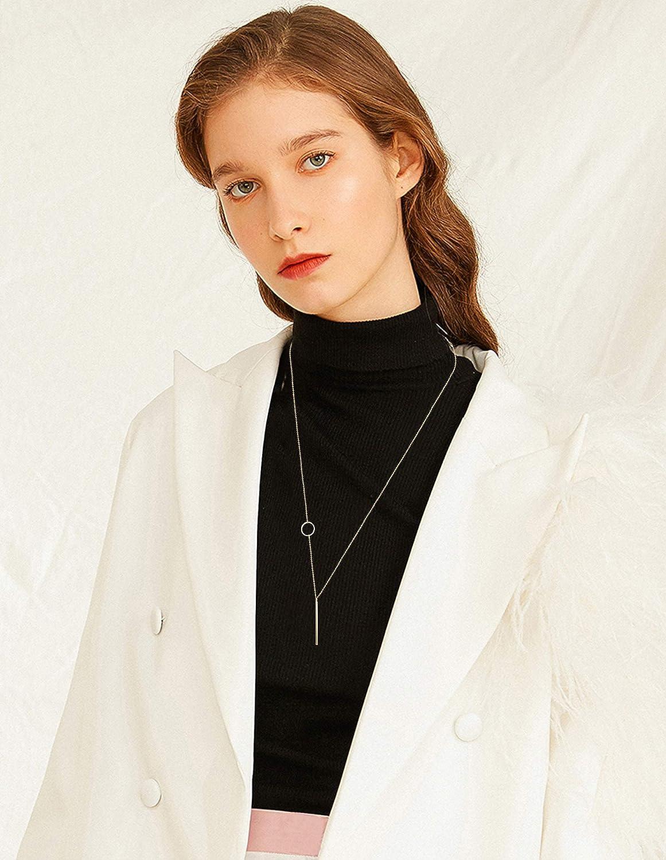 FUNRUN JEWELRY 8PCS Long Pendant Necklace Bar Pearl Knot Tassel Necklace Double Circle Arrow Leaf Y Necklace Set
