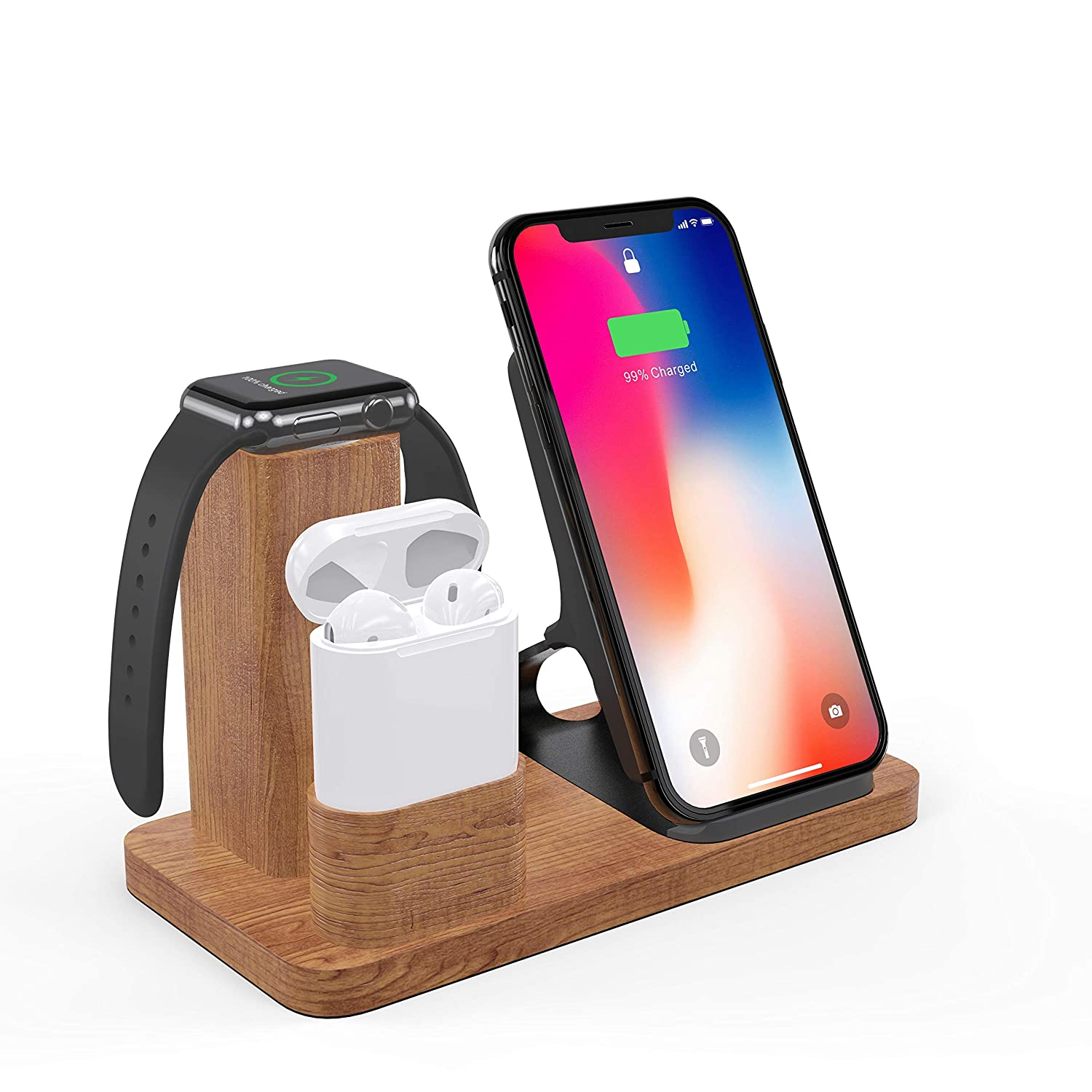 Solid Wood Wireless Charger Stand, LiZHi 3 in 1 Charging Station Docks for AirPods 2/1 Apple Watch Series 5/4/3/2/1 iPhone X/8/8 Plus iPhone Xs/XR/XS ...