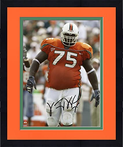 Framed Vince Wilfork Miami Hurricanes Autographed 8