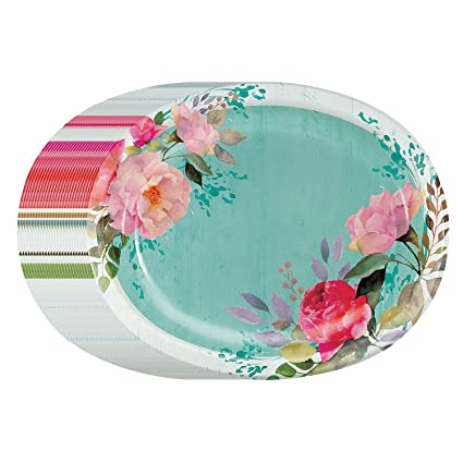 Performa Rustic Beauty Spring/Summer Paper Disposable Plates Heavy Duty in Large Bonus Pack (  sc 1 st  Amazon.com : pink disposable plates - pezcame.com