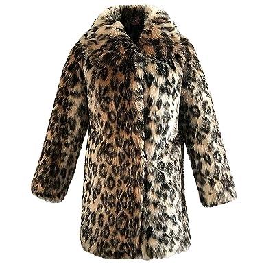 Abrigo de Piel Sintética, Cárdigan con Estampado de Leopardo de Invierno Abrigo de Pelo de