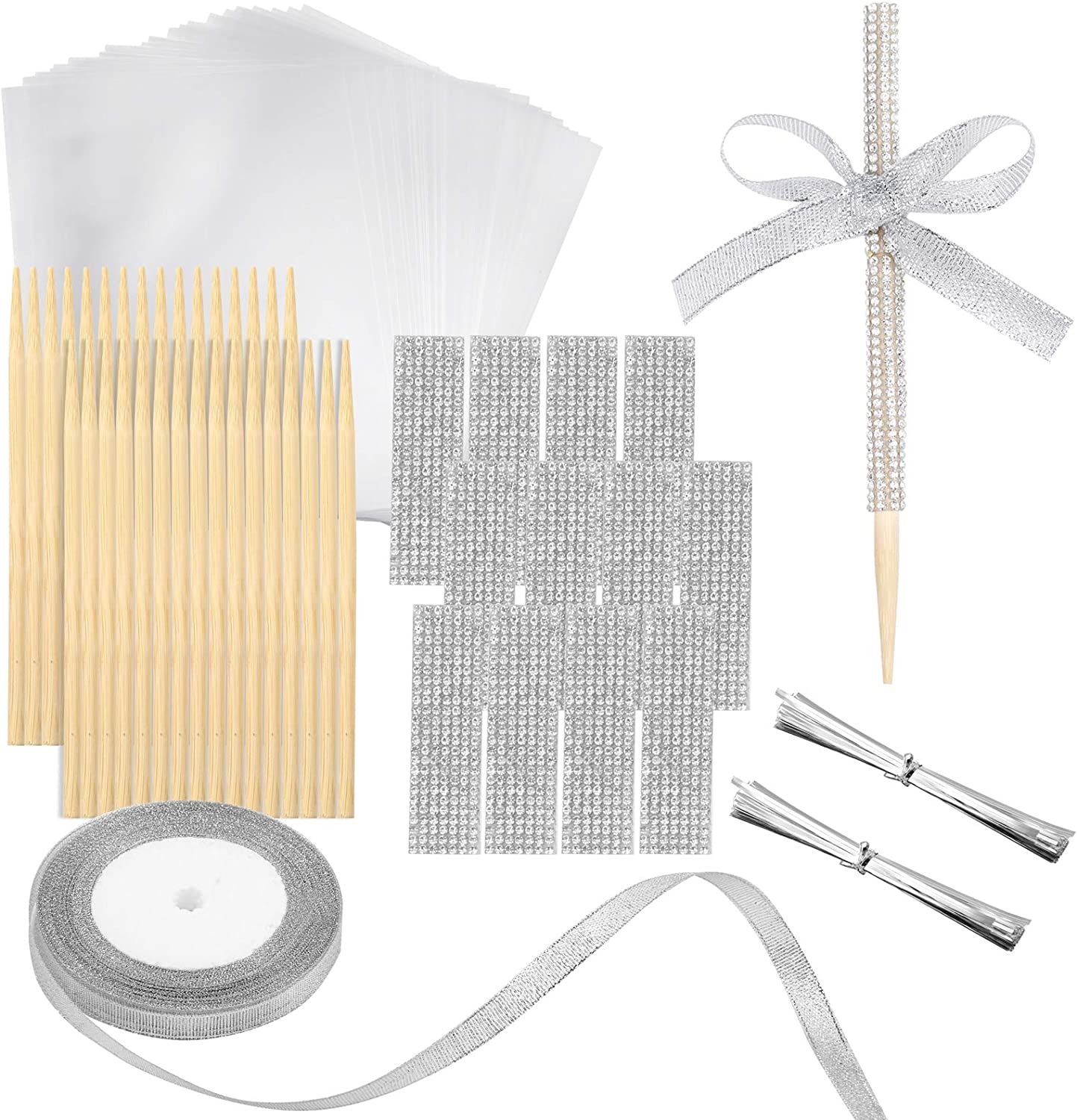 Pllieay 50pcs Bamboo Candy Apple Sticks, Candy Fruit Skewer Sticks with Candy Cellophane Treat Bags, Bling Rhinestone Stickers, Rolls Silver Satin Ribbon and Bundle Metallic Silver Twist Ties