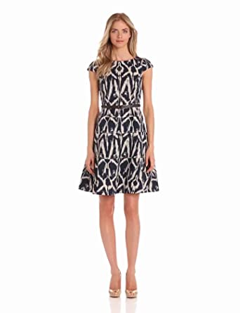 Anne Klein Women's Natural Ikat Swing Dress, Navy Combo, 2