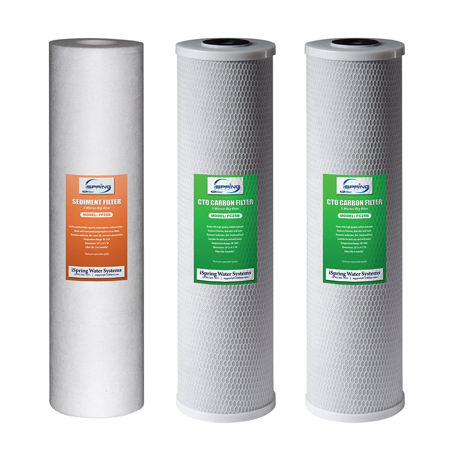 """iSpring F3WGB32B 4.5"""" x 20"""" 3-Stage Whole House Water Filter Replacement Pack Set with Sediment and Carbon Block Cartridges Reduces up to 99% Chlorine"""