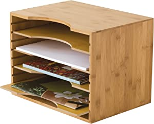 "Lipper International 811 Bamboo Wood File Organizer with 4 Dividers, 12 3/4"" x 9 1/4"" x 9 1/2"""