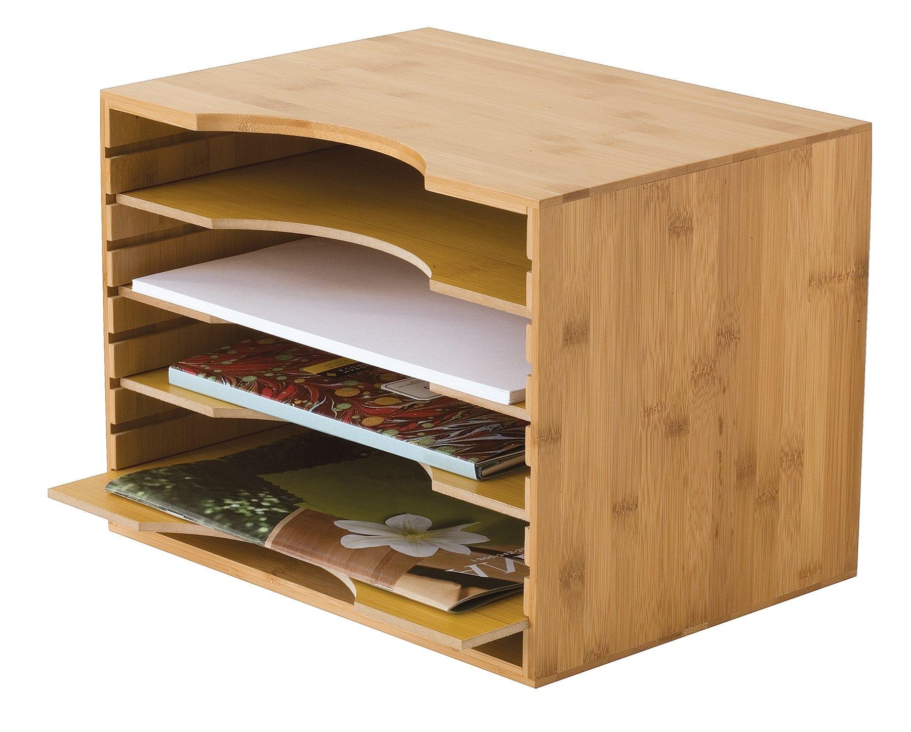 Lipper International 811 Bamboo Wood File Organizer with 4 Dividers, 12 3/4'' x 9 1/4'' x 9 1/2'' by Lipper International