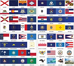 Independence Day US States Flags American Symbols Stickers (5-Sets)- 20 sheets - Decorative Learning Fun Sticky Wall Art Décor – Great Educational Tool Pack for Men, Women, Adults, Teachers, Educators