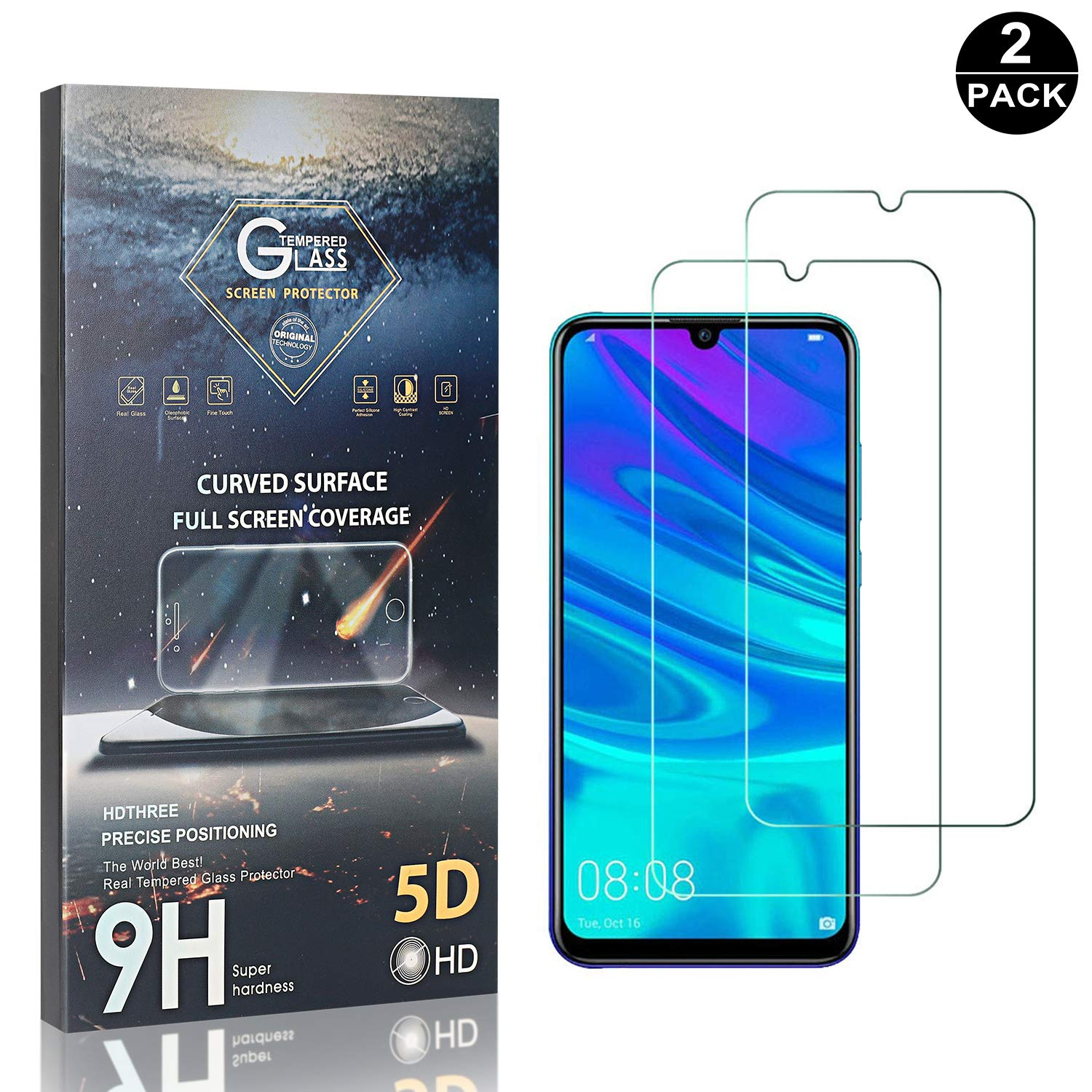Huawei P Smart Plus 2019 9H Ultra Clear Tempered Glass for Huawei Honor 10I Huawei P Smart Plus 2019 UNEXTATI 2 Pack Screen Protector Compatible with Huawei Honor 10I
