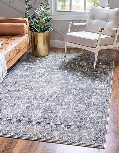 Unique Loom Portland Collection Botanical Tone-on-Tone Textured Border Bohemian Vintage Gray Area Rug 5' 0 x 8' 0