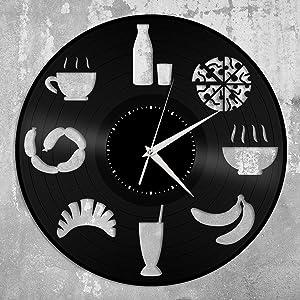 Food Clock Vinyl Wall Clock Record Unique Design Home Room Kitchen Decoration Vintage Design Office Bar Room Home Decor