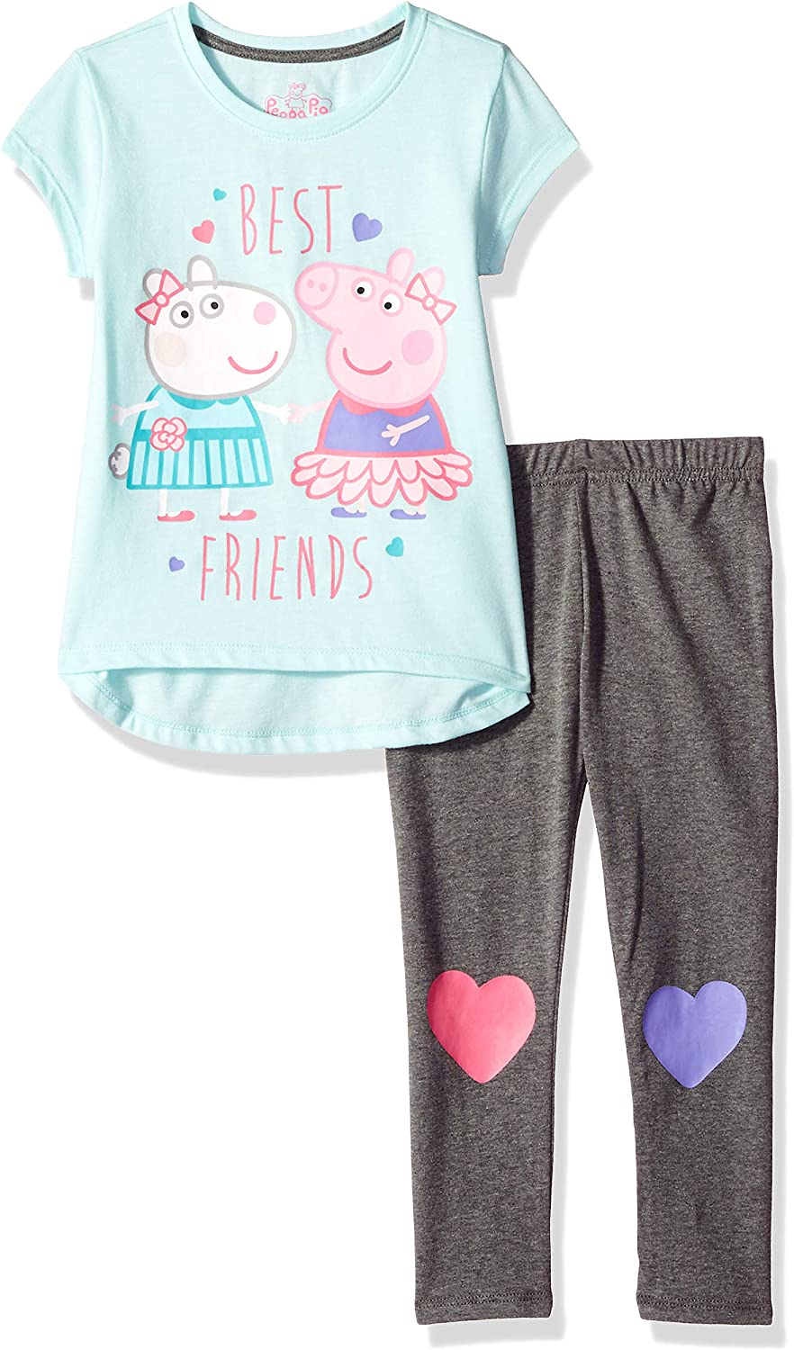Peppa Pig Little Girls Toddler Pullover Top and Leggings Set