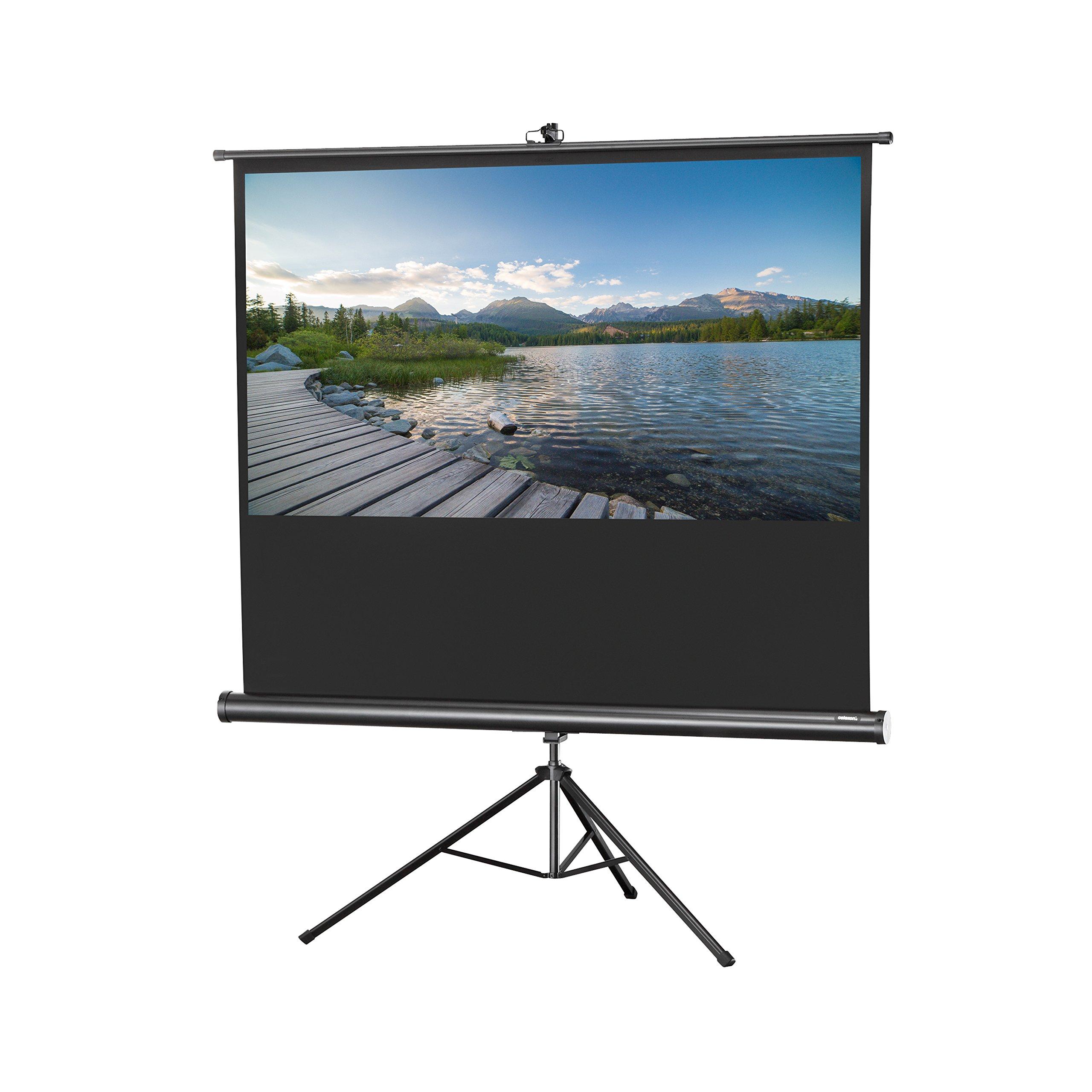 celexon 120'' Tripod Projector Screen Tripod Economy, 96 x 72 inches viewing area, 4:3 format, White edition