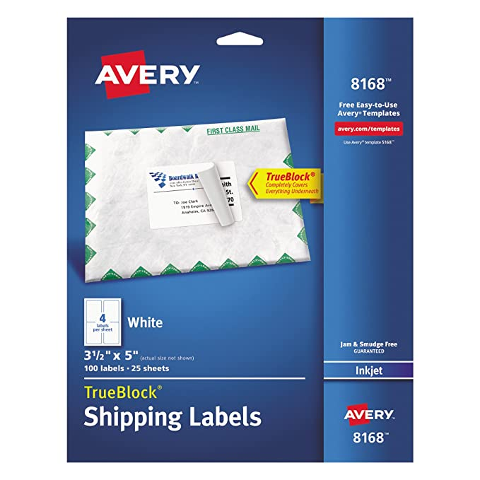 amazoncom avery shipping address labels inkjet printers 100 labels 3 12 x 5 permanent adhesive trueblock 8168 white office products