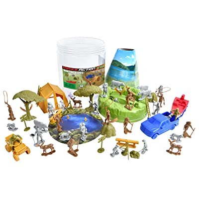 Camping Adventure Bucket – 68 Assorted Hunting Gear Toy Play Set For Kids, Boys and Girls | Plastic Figures and Vehicles with Storage Container: Toys & Games