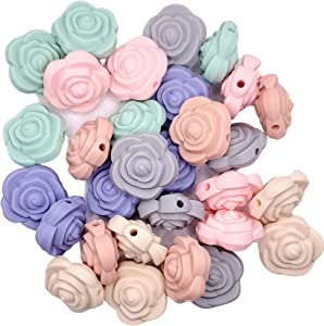 Flower Silicone Beads - Jewelry Necklace Bracelet Making Kit - Food Grade BPA Free Arts and Crafts Supplies (30PC Pastel)