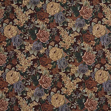 Amazon Com F924 Red And Green Floral Tapestry Upholstery Fabric By