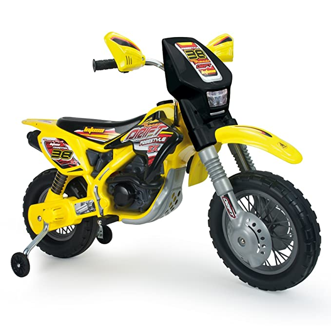 INJUSA Moto Cross Thunder MAX VX de 12V con Ruedines, Color Amarillo y Negro (6811)