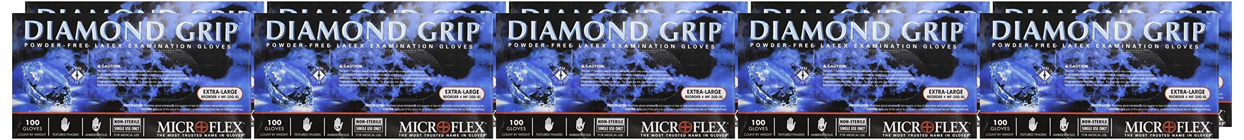 Microflex MF300XL-10PK - Diamond Grip Powder-Free Latex Gloves - Case Of 10 B... by Microflex (Image #2)