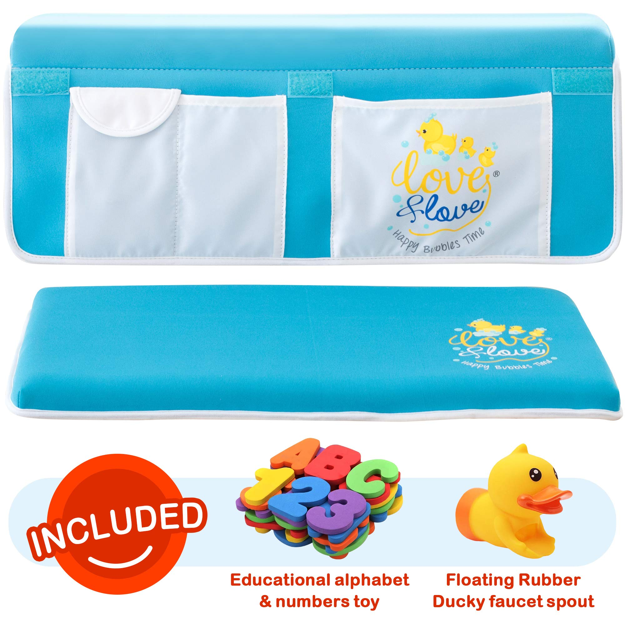 Bath Kneeler and Elbow Rest Pad Deluxe Aquamarine Blue Improved Bath Kneeler Set 2inch Think Wide Mat Bath Kneeler Tub Bathing 2 XL Reinforced Double Stitched Mesh Netting Toy Organizer Shower Gift by LOVE & LOVE