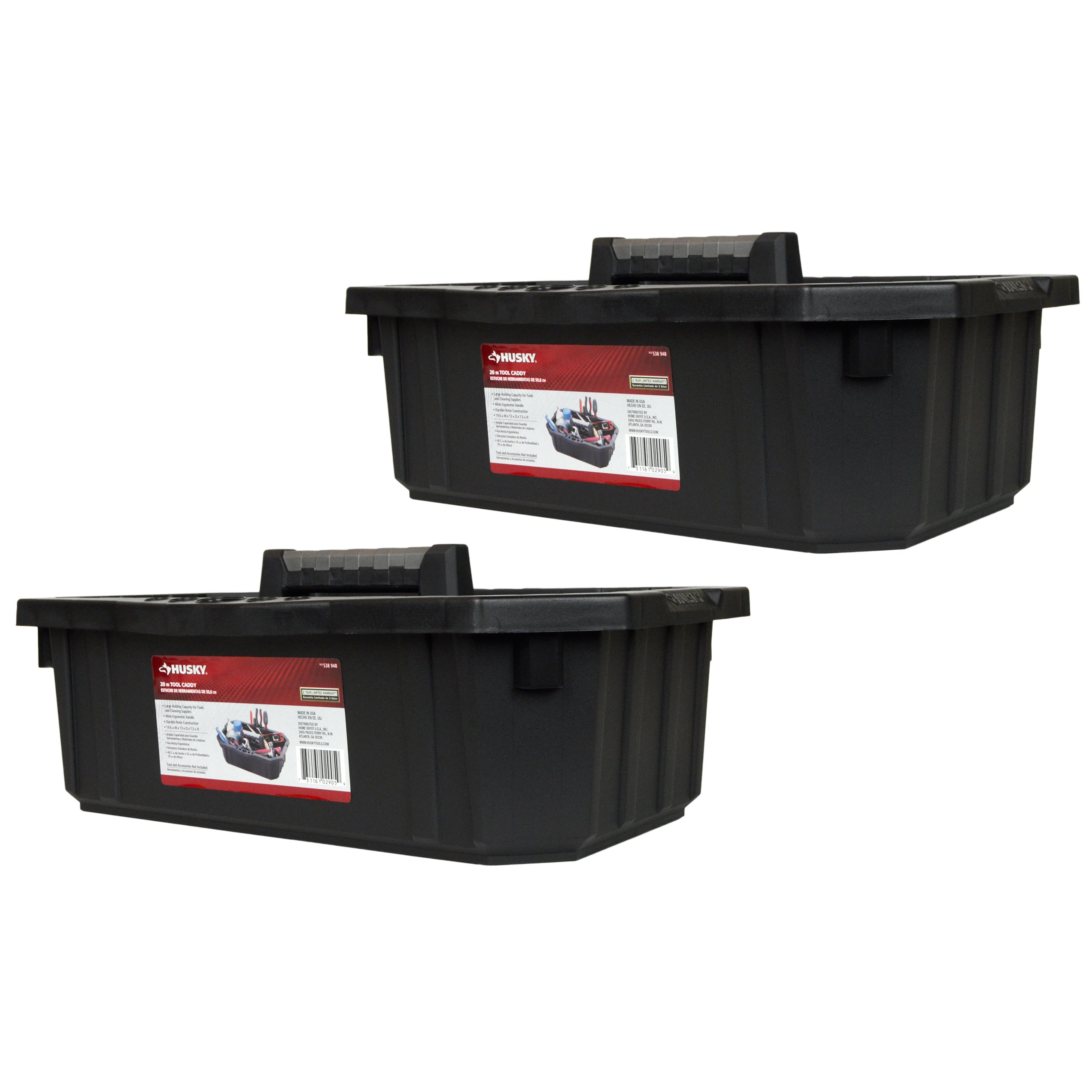 Husky 19.6'' x 3'' x 7.5'' Single Compartment Tool Organizer Caddy - 2 Pack
