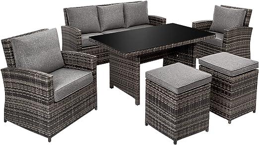 TecTake Ensemble Salon de jardin résine tressée poly rotin chaise aluminium  1x canapé 1x table 2 x fauteuil 2 x tabouret set gris