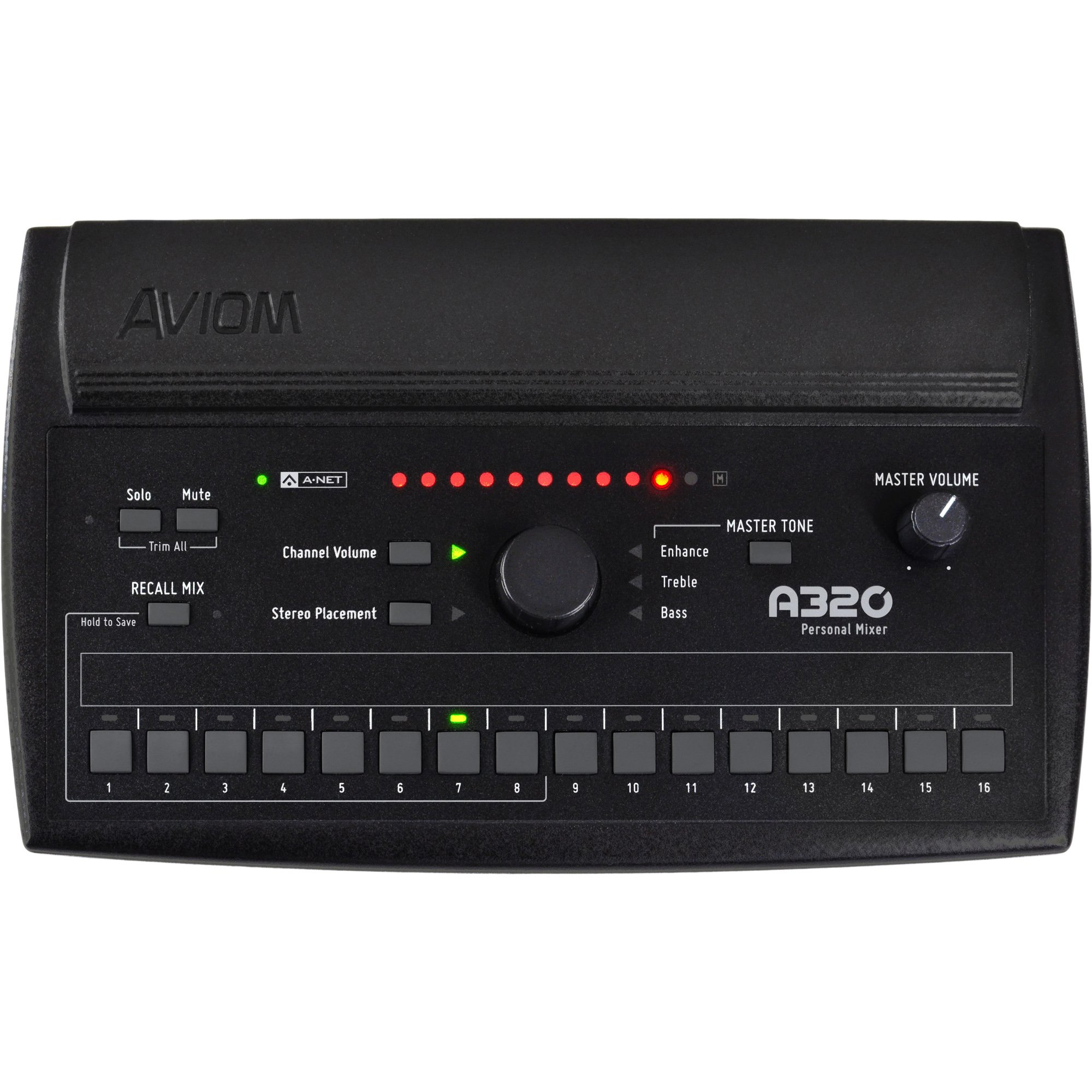 Aviom A320 Personal Mixer, Monitor 16 Mono or Stereo Sources, Eight Customizable Mix Presets, 3-Band Tone Control