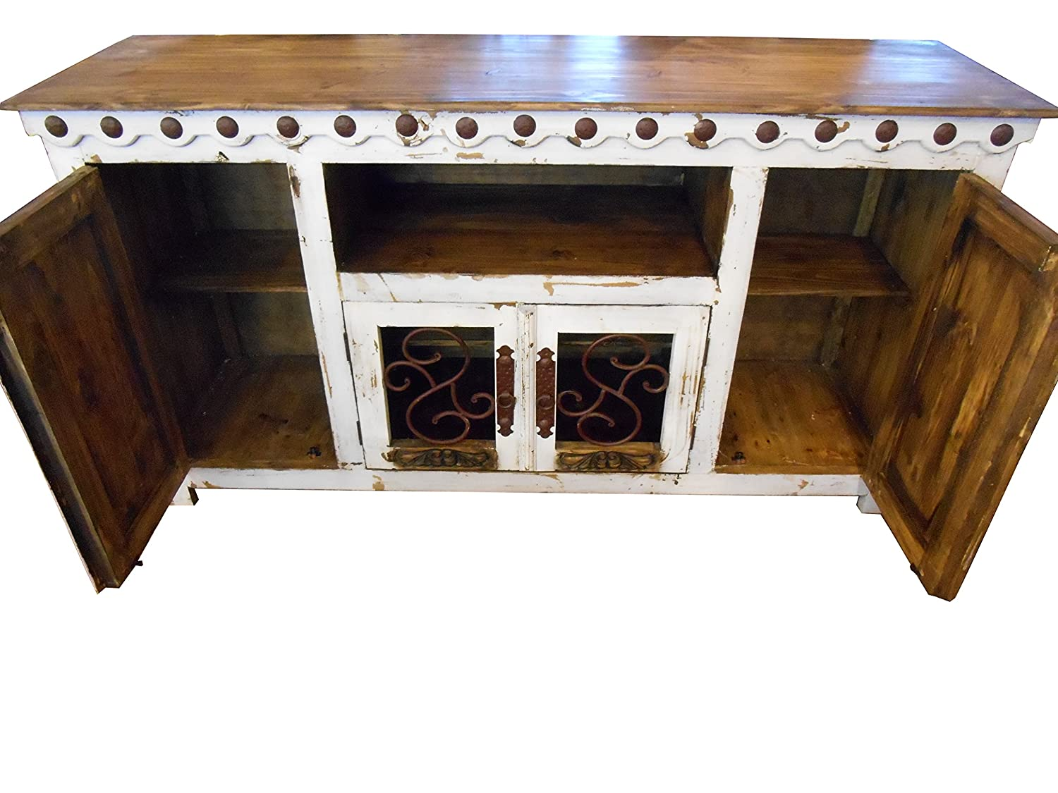 Hi End Rustic Medieval Hand Scrape TV Stand Available in 5 Colors 80 inch Long, White