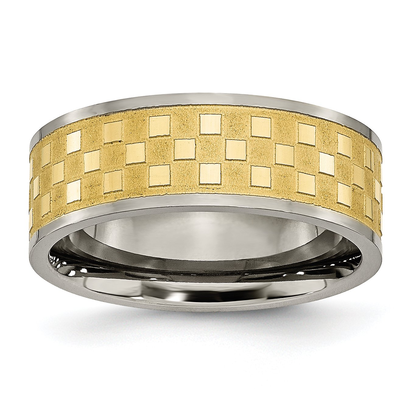 Grey Titanium Wedding Band Ring Polished Brushed Gold Tone IP-Plated 8 mm 8mm Yellow IP-plated Satin Checkered Band