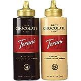 Torani Chocolate Sauce 2 Flavor Variety Pack: (1) Torani Dark Chocolate Suace, and (1) Torani White Chocolate Sauce, 16.5 Oz.