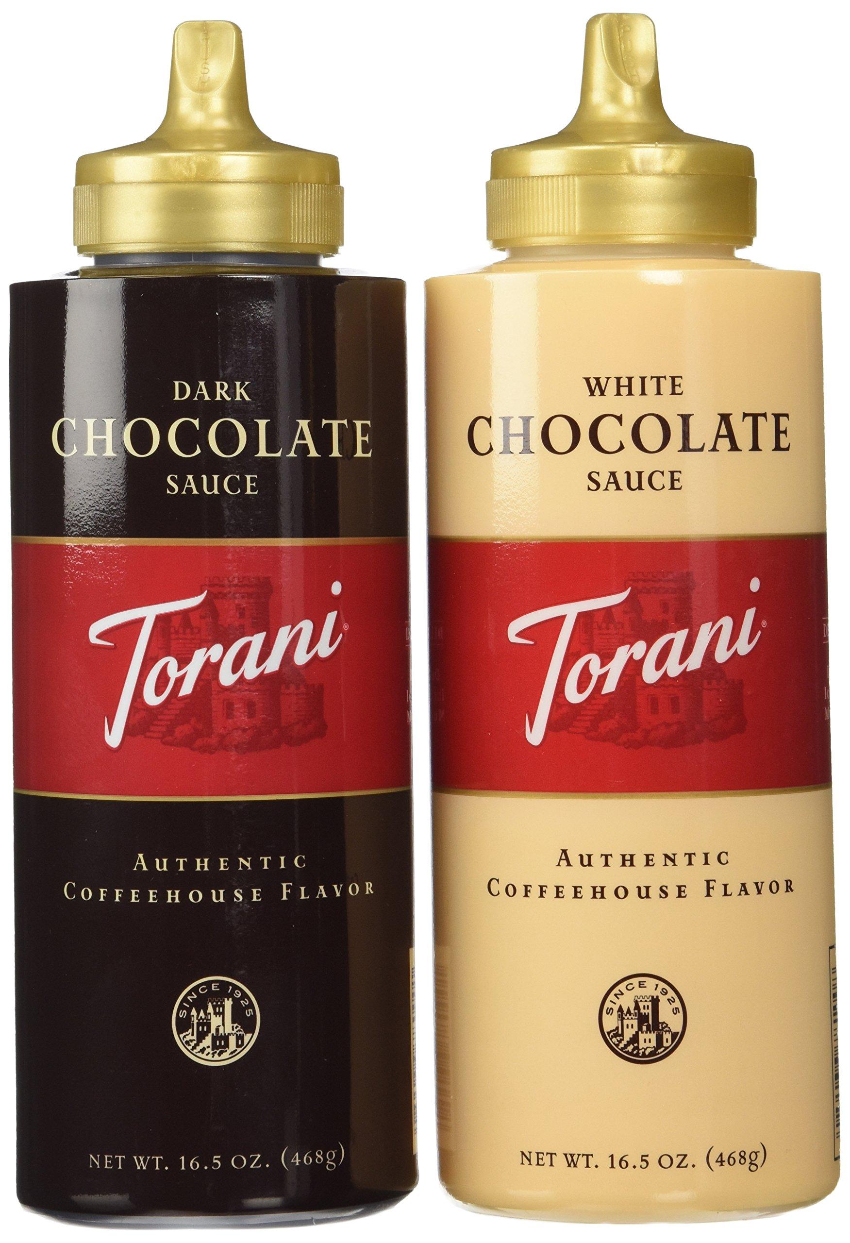 Torani Chocolate Sauce 2 Flavor Variety Pack: (1) Torani Dark Chocolate Suace, and (1) Torani White Chocolate Sauce, 16.5 Oz. Ea.