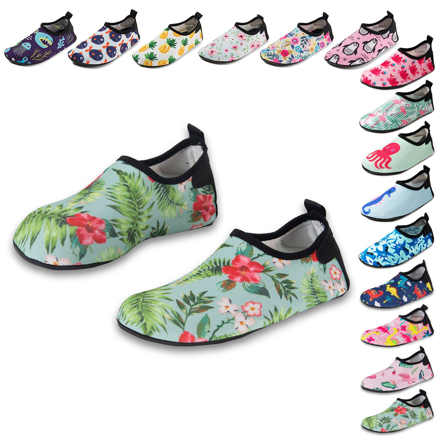 CiiaoLeoo Kids Water Shoes Quick-Dry Swim Barefoot Aqua Socks Shoes for Beach Pool Surfing Dance (8-8.5 M US Toddler, Tropical-Floral)